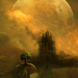 background man people silhouette planet planets bridge wooden chuliluna cloud clouds fog elephant mars freetoedit