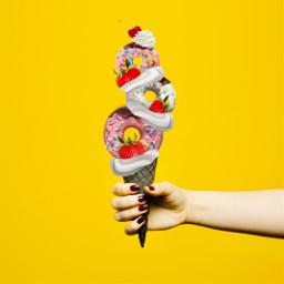 cherry doughnut whippedcream sprinkles desert yellow myedit food yummy sugar pink icecream summer strawberry cone chocolate ecsummericecream summericecream freetoedit