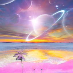 summervibes spaceart madewithpicsart heypicsart makeawesome universe galaxy planets sky shine beach people unsplash coconuttree myedit myart freetoedit