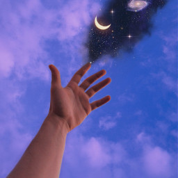 freetoedit sky heaven galaxy universe moon stars hand smoke clouds glitter aesthetic aestheticedit aesthetictumblr aestheticwallpaper aestheticsky vaporwave purple purpleaesthetic background remixit surreal gacha