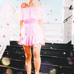 unsplash girl birthday confetti pink yellow orange gradient cool freetoedit