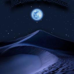paisaje noche azul azuloscuro dunas luna lunaazul estrellas stars stelle notte blue dark darkblue takemetothemoon text dunes night background sky cielo myedit gaby298 remixed freetoedit
