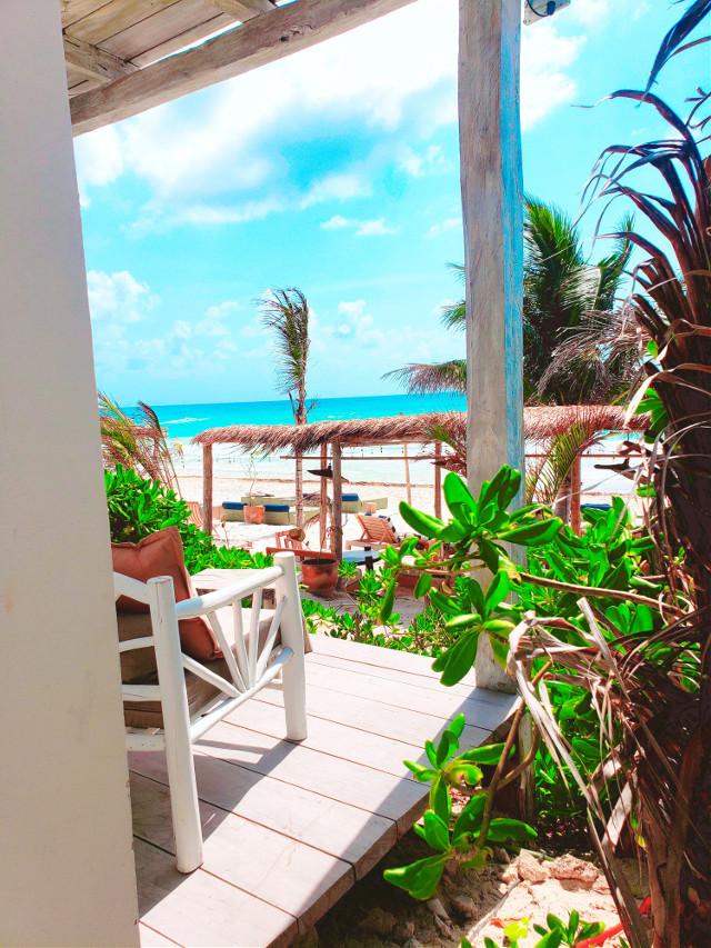 Room with a view.......Tulum🏝🌊🌞 #vacation #memories #travel #mexico #tulum #beachlife #daydream #destinations #myoriginalphoto #beach #view #blueskies #sunny #summer