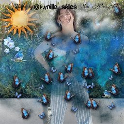freetoedit blue sky aesthetic charli charlidamelio butterfly queen madebyme replay picsart
