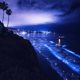 orilla playa azul azuloscuro palmeras mar paisaje noche background darkblue blue sea glitter waves sparkles sparkly beach anochecer sunset myedit gaby298 freetoedit