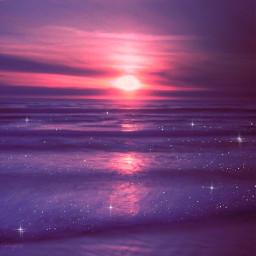 purple sunset beach background pink sun sea sky lilac aesthetic landscape atardecer morado violeta rosa lila playa summer verano glitter sparkles brillos brillante gaby298 freetoedit