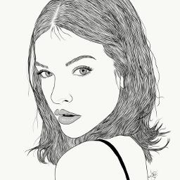 drawing outline sketch digitalart art outlineart digitaldrawing drawingart love creativity creative portrait girl barbarapalvin barbara palvin freetoedit