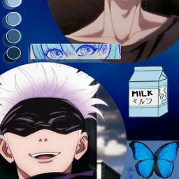 freetoedit gojo gojousatoru gojosatoru jjk jujutsukaisen jujutsukaisenedit anime animeboy aesthetic blue