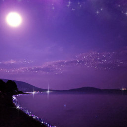 purple background landscape night pink glitter sea water sparkles lilac paisaje morado violeta rosa brillos noche brillante orilla mar purpleaesthetic myedit gaby298 remixed freetoedit