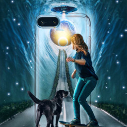 designthephonecaseimageremixchallenge theinvasion girl skateboard road dog ufo planets water smartphone dreams starsbrush ircdesignthephonecase freetoedit