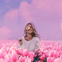 freetoedit floral field girl sitting pink flower sky heypicsart clouds be