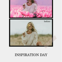photo before after girl pink field flowers roses be-creative freetoedit be
