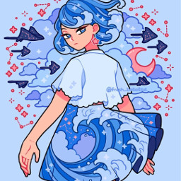 fresh_bobatae oceanvibes cute wavesaesthetic blueseas red starconstellations water sparkles anime animestyle girl bluehair beachwaves skirt clouds moon kuudere kawaii adorable