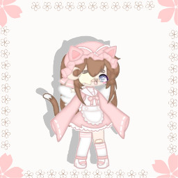 1557 pink brown cute kawaii flower sakura cherryblossom oc edit entryforacontest whydowehavetoaddahashtag ihavetoaddahashtag e lol neon cat neko nekomaid maiddress bonet moon star white