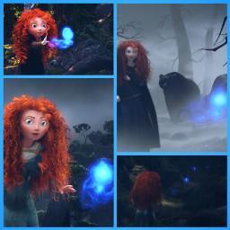 merida princess wisp brave bear blue disney collage disneyprincess pixar redhair