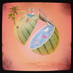 challenge fruit fruits watermelon water pool beach stairs palmtrees summer juice watermelonjuice floaties flamingo unicorn spill leak beachchairs sign metalsign towel beachball ball aesthetic sand ecfunfruits funfruits freetoedit