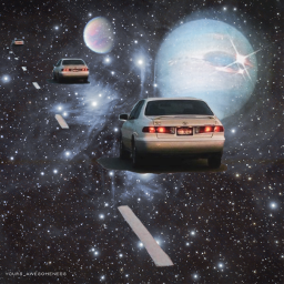 freetoedit yours_awesomeness spaceart cars surreal spaceedit fiction surrealism stars galaxy universe cardrive