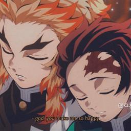freetoedit anime kimetsunoyaiba demonslayer mugantrain animeboys rengoku rengokukyojuro tanjiro tanjirokamado subtitles cute like