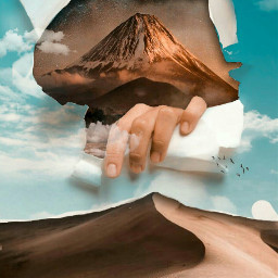 freetoedit background blue sky papertear hands mountains be