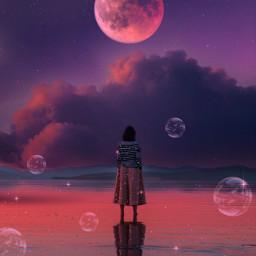 sky heaven clouds moon night bubbles woman water glitter aesthetic aestheticedit wallpaper background aestheticwallpaper purple orange sea surreal freetoedit orangeaesthetic galaxy pinkaesthetic remixit stars