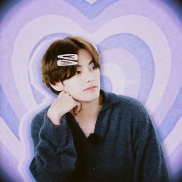v taehyung bts heart lavender runbts