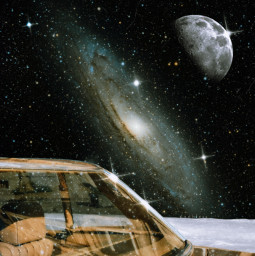 galaxy space collage surrealism planet moon stars glitter sparkle sparkling car window freetoedit