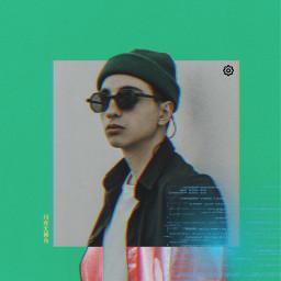 green interesting glasses picsarteffects futuristic cover boy hat freetoedit