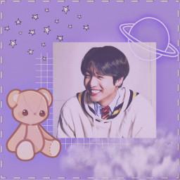 freetoedit bts purple jungkook kookie teddy clouds aesthetic