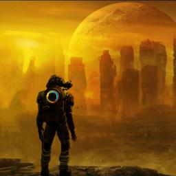planet astronaut robot robotic effect light effectslight freetoedit