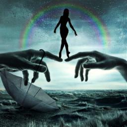 nature rainyday rainbow umbrella freetoedit ircdancersilhouette dancersilhouette