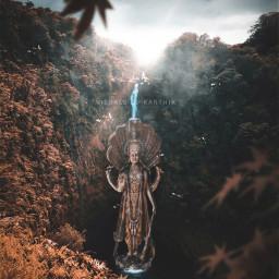 madewithpicsart madebyme myedit instagram art artwork surreal conceptart ruins idol statue gods lord lordvishnu vishnu hindugod hindugods india indian mythology myth supreme nature landscape waterfall freetoedit
