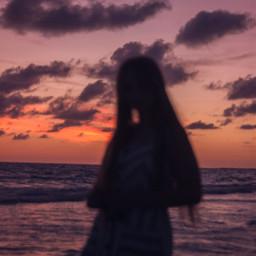 freetoedit aestheticwallpaper aesthetic sunset girl ocean