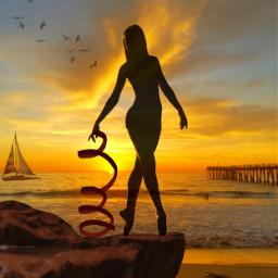 freetoedit myedit madewithpicsart girl ballerina sea sunset ircdancersilhouette dancersilhouette