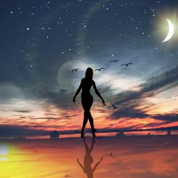 sunset beautiful sillouette ircdancersilhouette dancersilhouette remixed