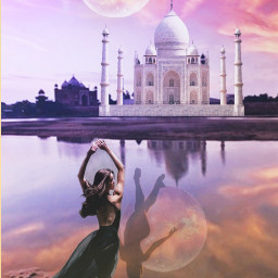 sunset beautiful tajmahal moon sillouette freetoedit ircdancersilhouette dancersilhouette