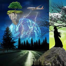 freetoedit mixedmedia nature night trees sky moon road