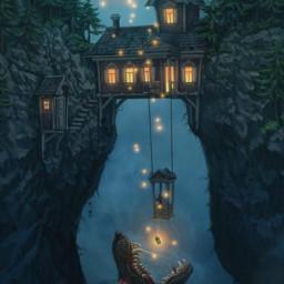 desafio challenge wolf lobo night noite fantasia yellowlight luzamarela penhasco fantasy freetoedit irccircleinmyhand circleinmyhand