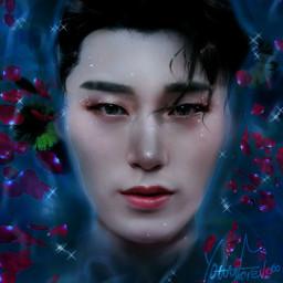 san choisan ateez kpop wallpaper lockscreen background colorful soft cute fantasy nature fairytale water flowers star1117 happybirthday happysanday happybirthdaysan