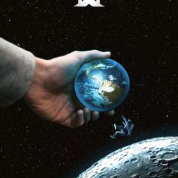 world hand moon space astronaut freetoedit irccircleinmyhand circleinmyhand