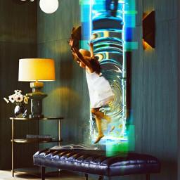 jumping girlinamirror portal challenge picsart heypicsart mirror surrealism pirasisproyo freetoedit srcglitchneonframe glitchneonframe