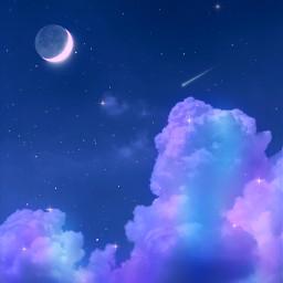 freetoedit sky heaven clouds moon stars rainbow night aesthetic aestheticwallpaper aestheticedit aestheticsky beautiful background galaxy imagineabrighterreality surreal remixit gacha wallpaper purple blue blueaesthetic purpleaesthetic