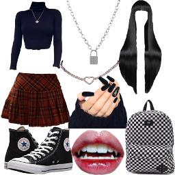 freetoedit schoolgirl baddie converse fangs lock checkerboard plaid skirt