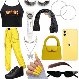 freetoedit thrasher baddie collage yellow black cute glasses lipgloss purse chain eyebrows lashes boyfriend trendy interesting summer music beach nails butterfly chanel
