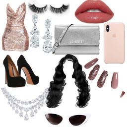 freetoedit rosegold sparkle formal single club pumps heels diamond lips baddie cute hair long silver