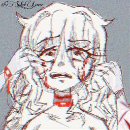 freetoedit interesting art drawing sketch blood bloodwarning cringe breakdown glitch anime goreaesthetic glitchcore gorecore animegirl unreal unrealcore black white blackandwhite imtired tired useless sad 2021