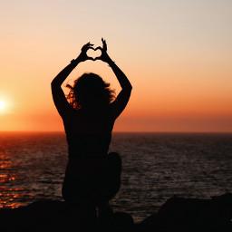 freetoedit love heart girl sunset