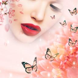 girl woman beautiful face flower butterfly
