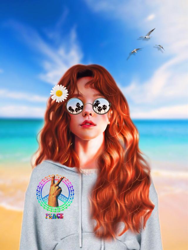 #peacesignimageremixchallenge #flowerchild #girl #redhead #hoodie #sunglasses #daisy #peacesign #peace #beachvibes #ocean #water #seagullsinflight  #californiagirls ✨☮️🌊🏖🌼🕶✨