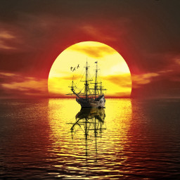 freetoedit sonnenuntergang schiff ship