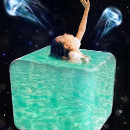cube cubewatter underwater space surreal girl freetoedit